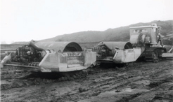 Vibroplant roller at Scammonden dam during the construction of the M62